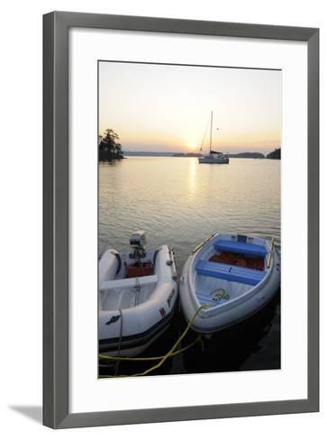 Canada, B.C., Gulf Islands, Wallace Island. Two Dinghy's at Sunset-Kevin Oke-Framed Art Print