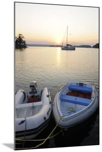 Canada, B.C., Gulf Islands, Wallace Island. Two Dinghy's at Sunset-Kevin Oke-Mounted Photographic Print