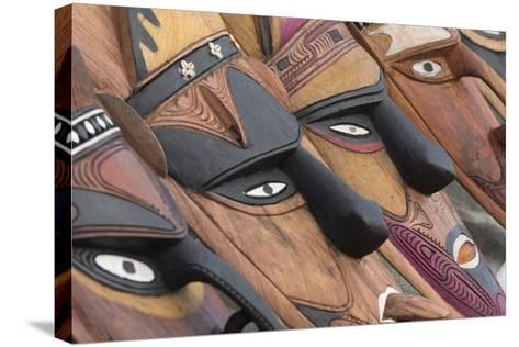 Papua New Guinea, Murik Lakes, Karau Village. Traditional Carved Masks-Cindy Miller Hopkins-Stretched Canvas Print