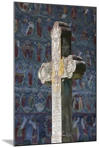 Romania, Bucovina, Sucevita, Sucevita Monastery, Frescoes and Cross-Walter Bibikow-Mounted Photographic Print