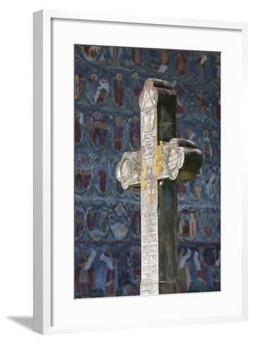 Romania, Bucovina, Sucevita, Sucevita Monastery, Frescoes and Cross-Walter Bibikow-Framed Art Print
