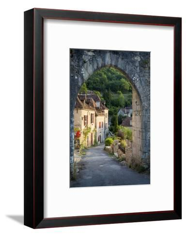 Sunset at Old Entry Gate to Saint-Cirq-Lapopie, Lot Valley, France-Brian Jannsen-Framed Art Print