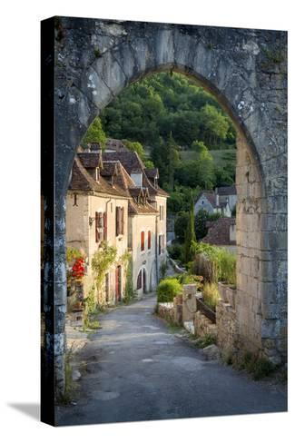 Sunset at Old Entry Gate to Saint-Cirq-Lapopie, Lot Valley, France-Brian Jannsen-Stretched Canvas Print