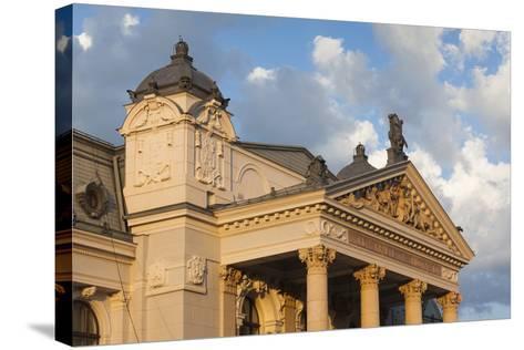 Romania, Moldavia, Iasi, Vasile Alecsandri National Theater at Sunset-Walter Bibikow-Stretched Canvas Print