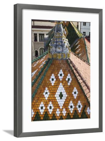 Romania, Transylvania, Targu Mures, the County Council Building Roof-Walter Bibikow-Framed Art Print