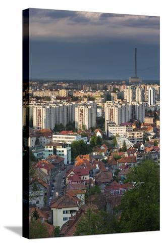 Romania, Transylvania, Brasov, City and Cet Brasov Energy Plant-Walter Bibikow-Stretched Canvas Print