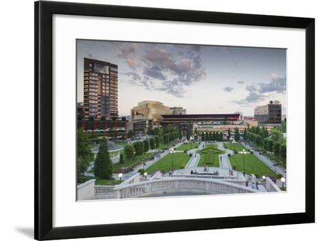 Romania, Moldavia, Iasi, Palas Mall by the Palace of Culture, Dusk-Walter Bibikow-Framed Art Print