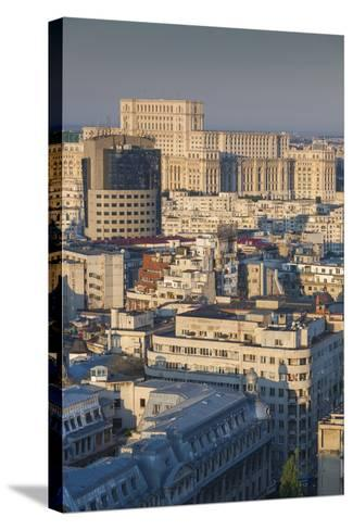 Romania, Bucharest, Palace of Parliament, Elevated View, Dawn-Walter Bibikow-Stretched Canvas Print