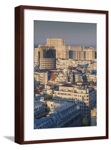 Romania, Bucharest, Palace of Parliament, Elevated View, Dawn-Walter Bibikow-Framed Art Print