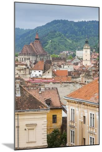 Romania, Transylvania, Brasov, City with Black Church and Town Hall-Walter Bibikow-Mounted Photographic Print