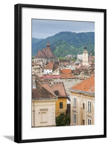 Romania, Transylvania, Brasov, City with Black Church and Town Hall-Walter Bibikow-Framed Art Print