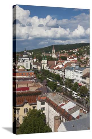 Romania, Transylvania, Targu Mures, View of Piata Trandafirilor Square-Walter Bibikow-Stretched Canvas Print