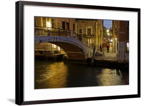 Europe, Italy, Venice, Night Canal-John Ford-Framed Art Print