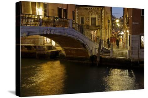 Europe, Italy, Venice, Night Canal-John Ford-Stretched Canvas Print