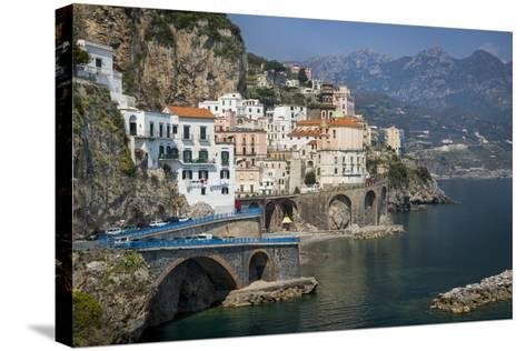 Seaside Town of Atrani Near Amalfi, Campania, Italy-Brian Jannsen-Stretched Canvas Print
