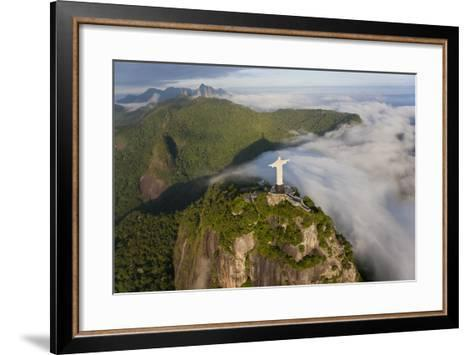 Art Deco Statue of Jesus,On Corcovado Mountain, Rio de Janeiro, Brazil-Peter Adams-Framed Art Print