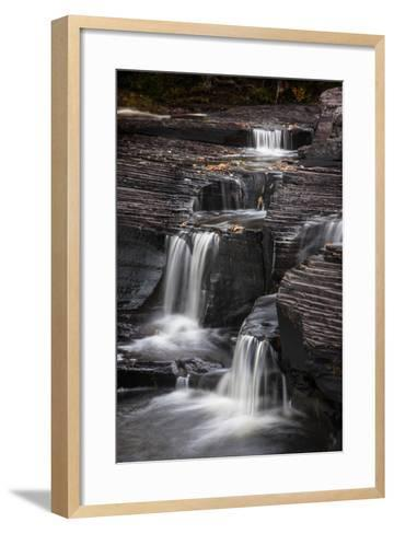 USA, Michigan, Upper Peninsula. Waterfalls in the Presque Isle River-Don Grall-Framed Art Print