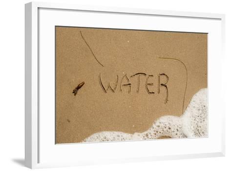 California, Santa Barbara Co, Jalama Beach, Water Written in Sand-Alison Jones-Framed Art Print