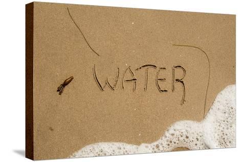 California, Santa Barbara Co, Jalama Beach, Water Written in Sand-Alison Jones-Stretched Canvas Print