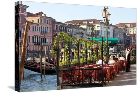 Tables Outside Restaurant by Grand Canal, Venice, Italy-Peter Adams-Stretched Canvas Print