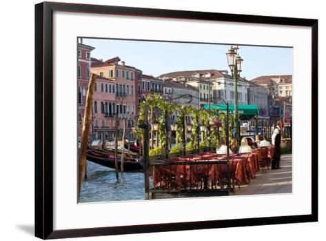 Tables Outside Restaurant by Grand Canal, Venice, Italy-Peter Adams-Framed Art Print