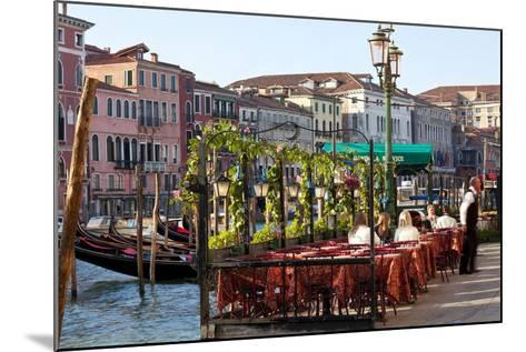 Tables Outside Restaurant by Grand Canal, Venice, Italy-Peter Adams-Mounted Photographic Print