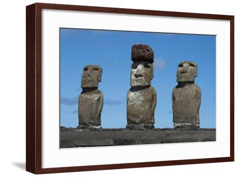 Chile, Easter Island, Rapa Nui NP, Ahu Tongariki. Moai with Pukao-Cindy Miller Hopkins-Framed Art Print