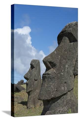 Chile, Easter Island. Rapa Nui NP, Historic Site of Rano Raraku. Moi-Cindy Miller Hopkins-Stretched Canvas Print