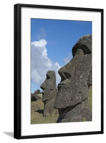 Chile, Easter Island. Rapa Nui NP, Historic Site of Rano Raraku. Moi-Cindy Miller Hopkins-Framed Art Print