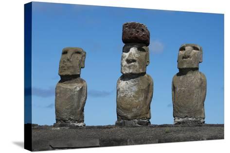 Chile, Easter Island, Rapa Nui NP, Ahu Tongariki. Moai with Pukao-Cindy Miller Hopkins-Stretched Canvas Print