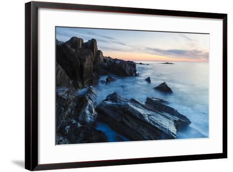 Dawn, Rocks, and Surf. Wallis Sands State Park, Rye, New Hampshire-Jerry & Marcy Monkman-Framed Art Print