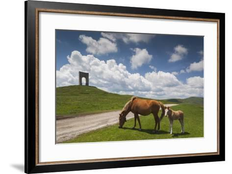 Bulgaria, Central Mts, Troyan, Troyan Pass, Battle Monument and Horses-Walter Bibikow-Framed Art Print