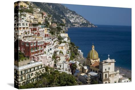 View Along the Amalfi Coast of the Town of Positano, Campania Italy-Brian Jannsen-Stretched Canvas Print