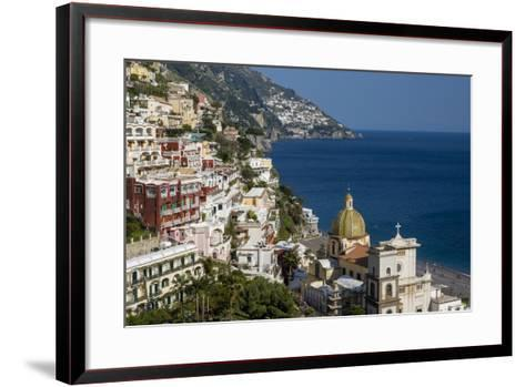 View Along the Amalfi Coast of the Town of Positano, Campania Italy-Brian Jannsen-Framed Art Print