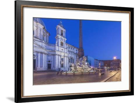 Italy, Rome, Piazza Navona and Sant'Agnese in Agone Church at Dawn-Rob Tilley-Framed Art Print