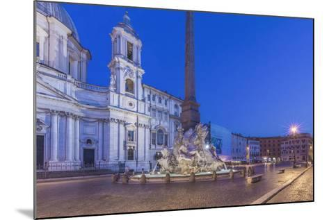 Italy, Rome, Piazza Navona and Sant'Agnese in Agone Church at Dawn-Rob Tilley-Mounted Photographic Print