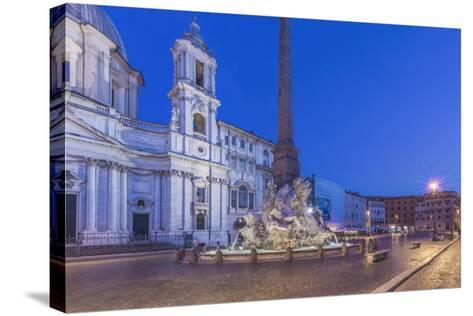 Italy, Rome, Piazza Navona and Sant'Agnese in Agone Church at Dawn-Rob Tilley-Stretched Canvas Print