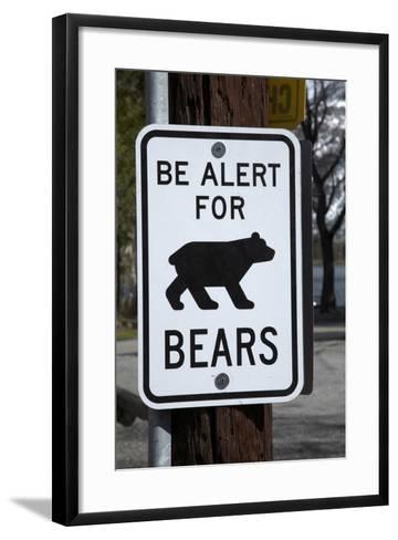 Bear Warning Sign, Silver Lake Resort, Eastern Sierra, California-David Wall-Framed Art Print