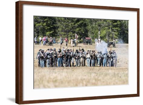 Civil War Soldiers Shooting -Re-Enactment-Sheila Haddad-Framed Art Print
