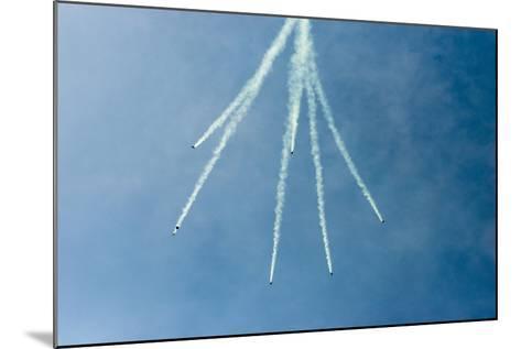 Formation Parachuting with Smoke-Sheila Haddad-Mounted Photographic Print