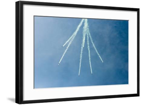 Formation Parachuting with Smoke-Sheila Haddad-Framed Art Print