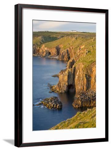 Sunset over the Cliffs Near Lands End, Cornwall, England-Brian Jannsen-Framed Art Print