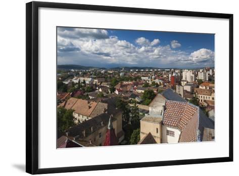 Romania, Transylvania, Targu Mures, Elevated City View-Walter Bibikow-Framed Art Print