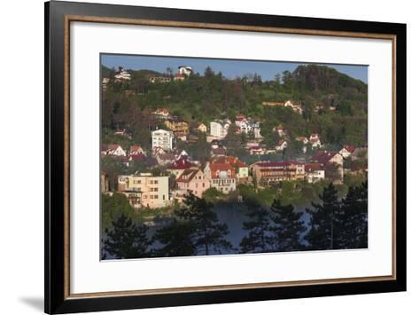 Romania, Transylvania, Brasov, Town Buildings in Fog, Dawn-Walter Bibikow-Framed Art Print