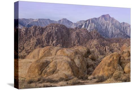 California, Alabama Hills. View of Lone Pine Peak and Mount Whitney-Don Paulson-Stretched Canvas Print