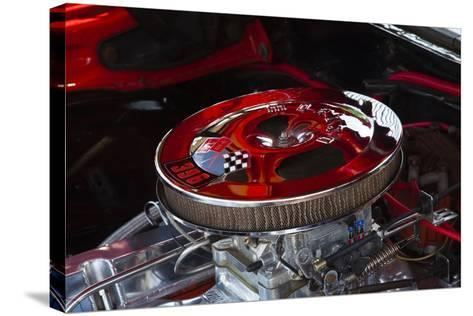 USA, Georgia, Savannah, Engine of a Car in Car Show-Joanne Wells-Stretched Canvas Print