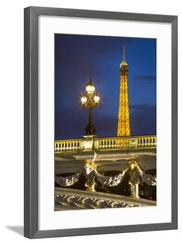 Pont Alexandre III with the Eiffel Tower Looming Beyond, Paris France-Brian Jannsen-Framed Art Print