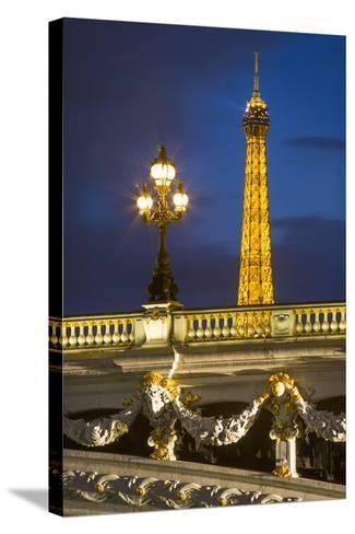 Pont Alexandre III with the Eiffel Tower Looming Beyond, Paris France-Brian Jannsen-Stretched Canvas Print
