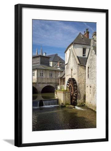 Mill Along River Weir and Medieval Town of Bayeux, Normandy France-Brian Jannsen-Framed Art Print