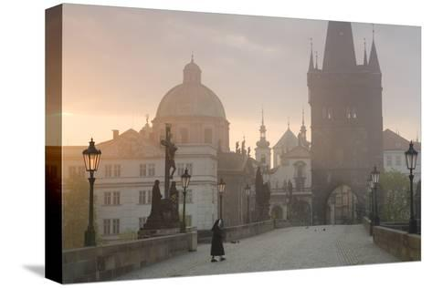 Charles Bridge at Dawn, Prague, Czech Republic-Peter Adams-Stretched Canvas Print